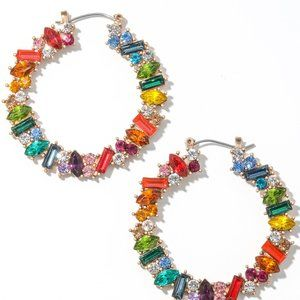 DEBBIE MIXED RHINESTONE HOOP EARRINGS